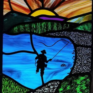 Leaded glass painting fisherman stained glass