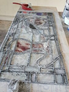 stained glass cementing